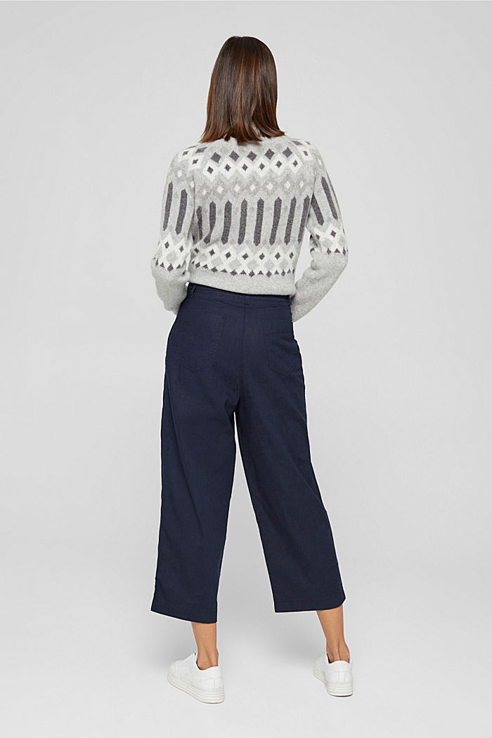 En coton bio et chanvre: la jupe-culotte à cordon de serrage, NAVY, detail image number 3
