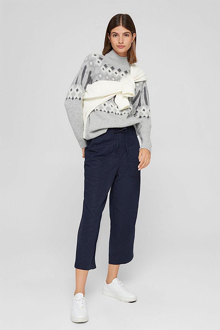 En coton bio et chanvre: la jupe-culotte à cordon de serrage, NAVY, detail image number 1