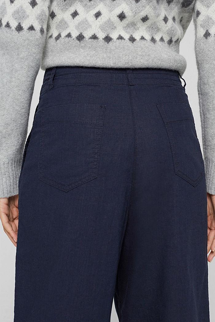 En coton bio et chanvre: la jupe-culotte à cordon de serrage, NAVY, detail image number 2