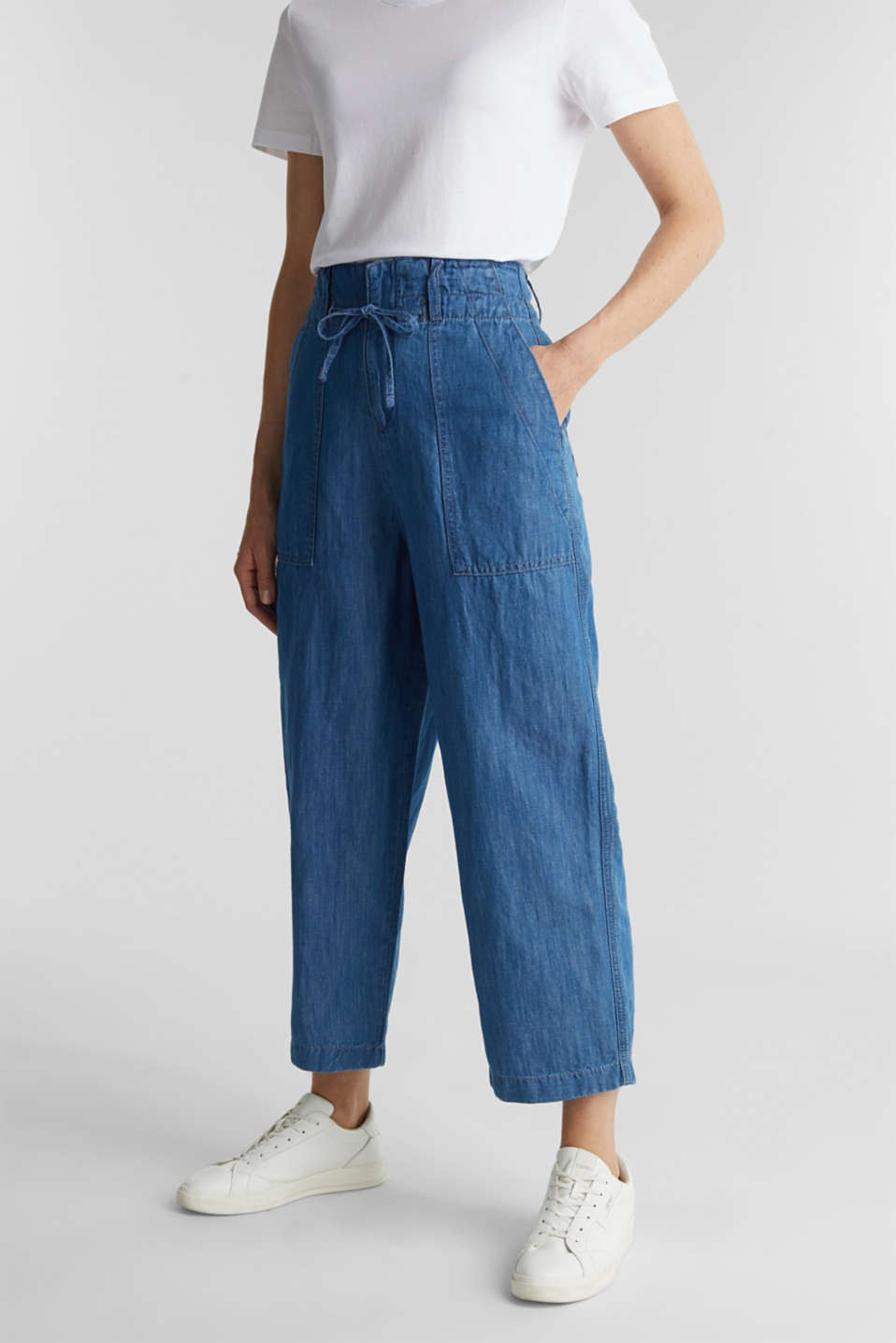 Esprit - Linen blend: Lightweight denim culottes