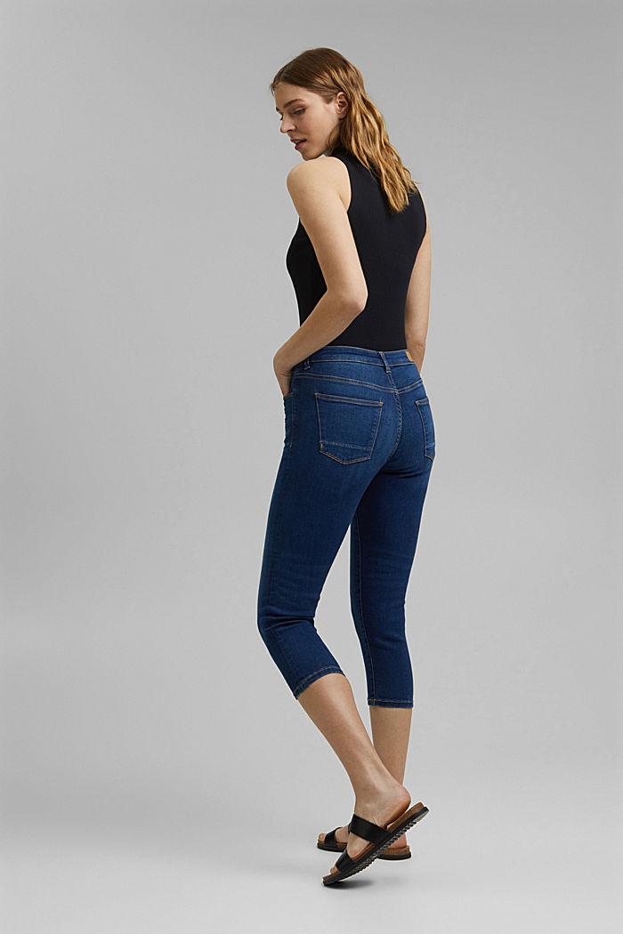 Capri-Jeans aus Bio-Baumwoll-Mix, BLUE MEDIUM WASHED, detail image number 3