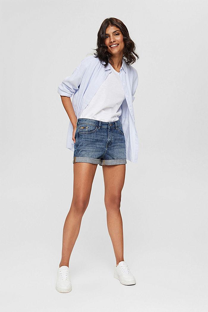 Denim shorts made of organic cotton, BLUE MEDIUM WASHED, detail image number 1