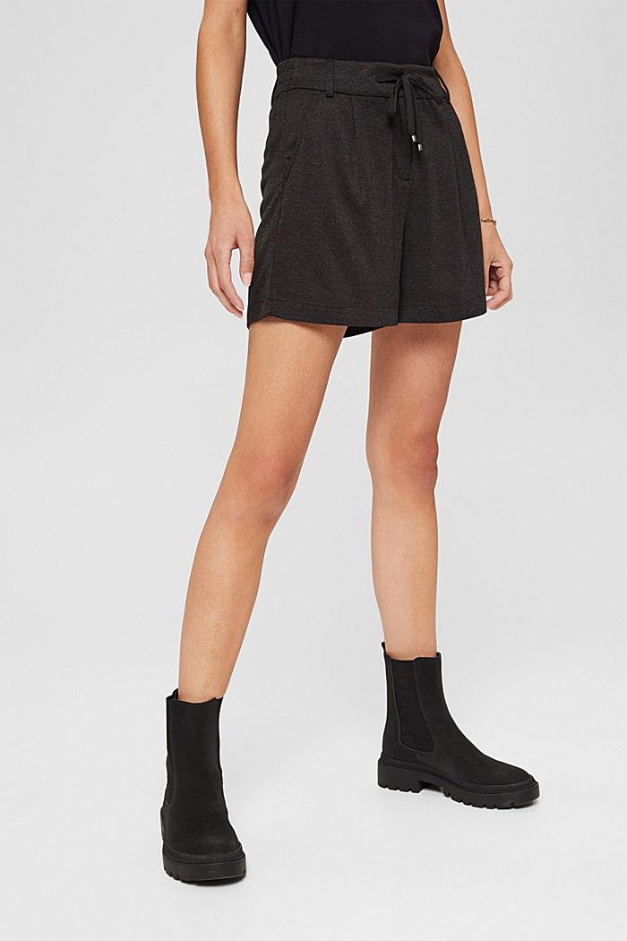 Shorts de tela con cintura elástica, ANTHRACITE, detail image number 0
