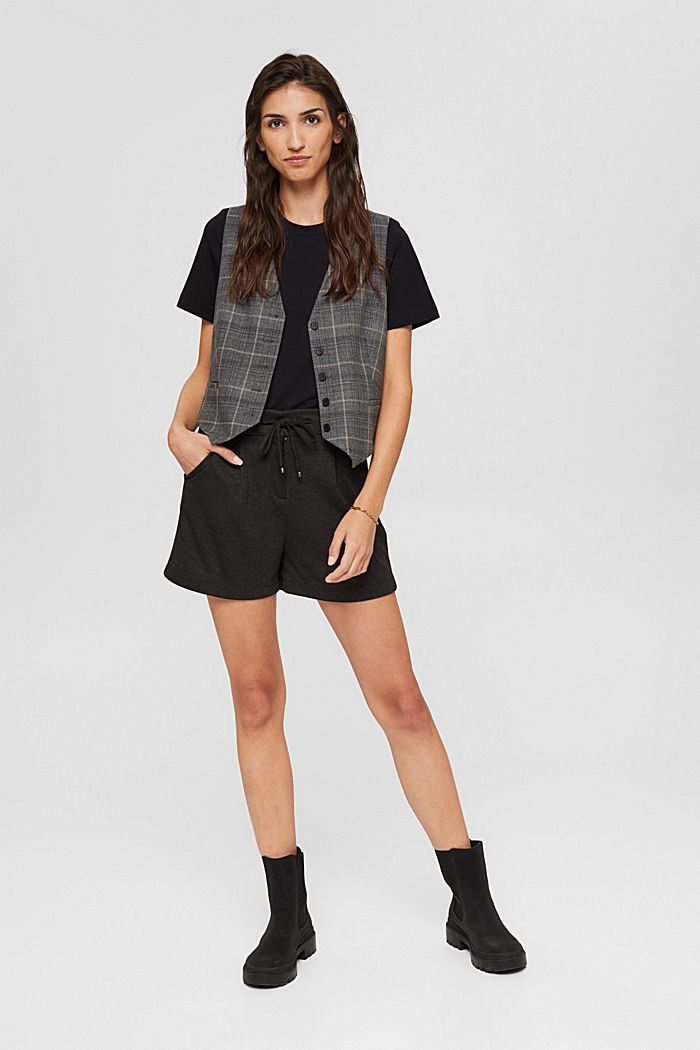 Shorts de tela con cintura elástica, ANTHRACITE, detail image number 1