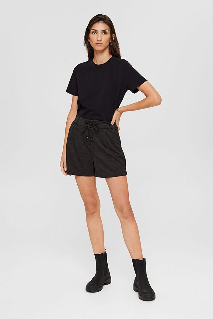 Shorts de tela con cintura elástica, ANTHRACITE, detail image number 6