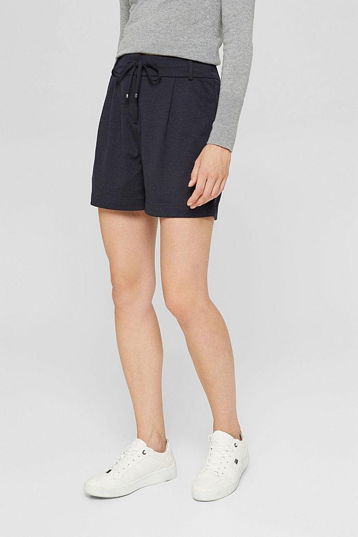 Shorts de tela con cintura elástica, NAVY, detail image number 0