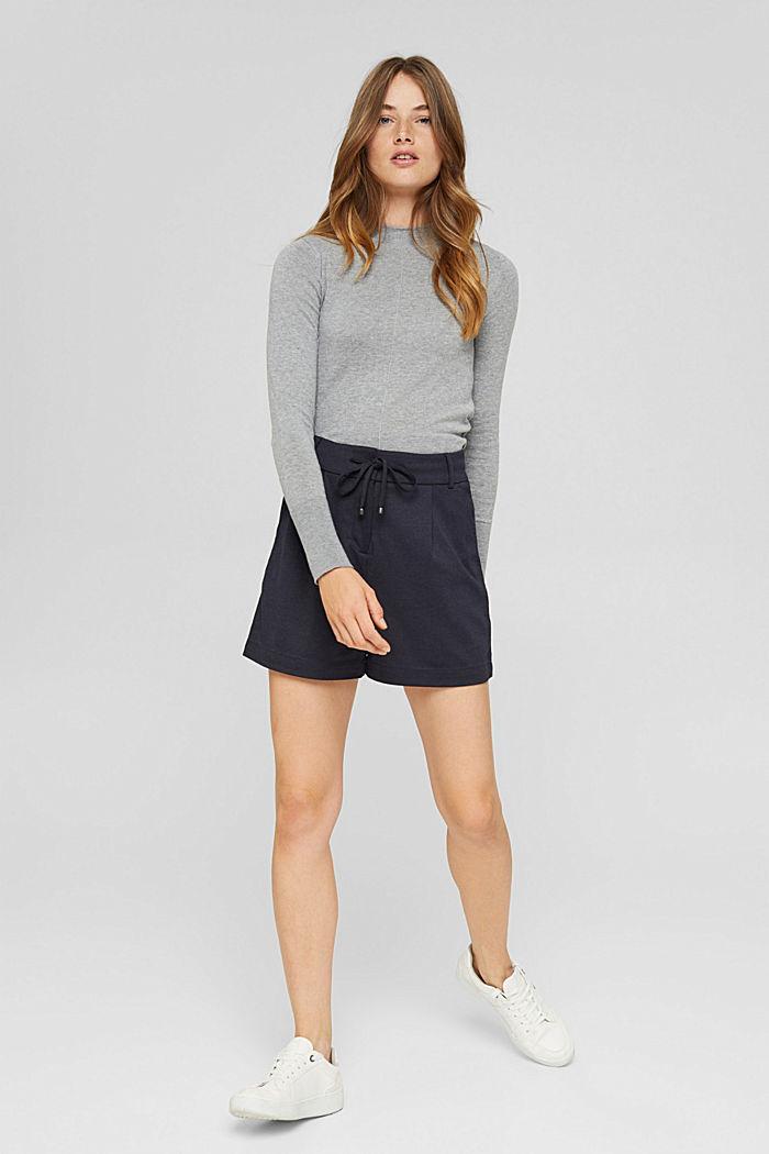 Shorts de tela con cintura elástica, NAVY, detail image number 1