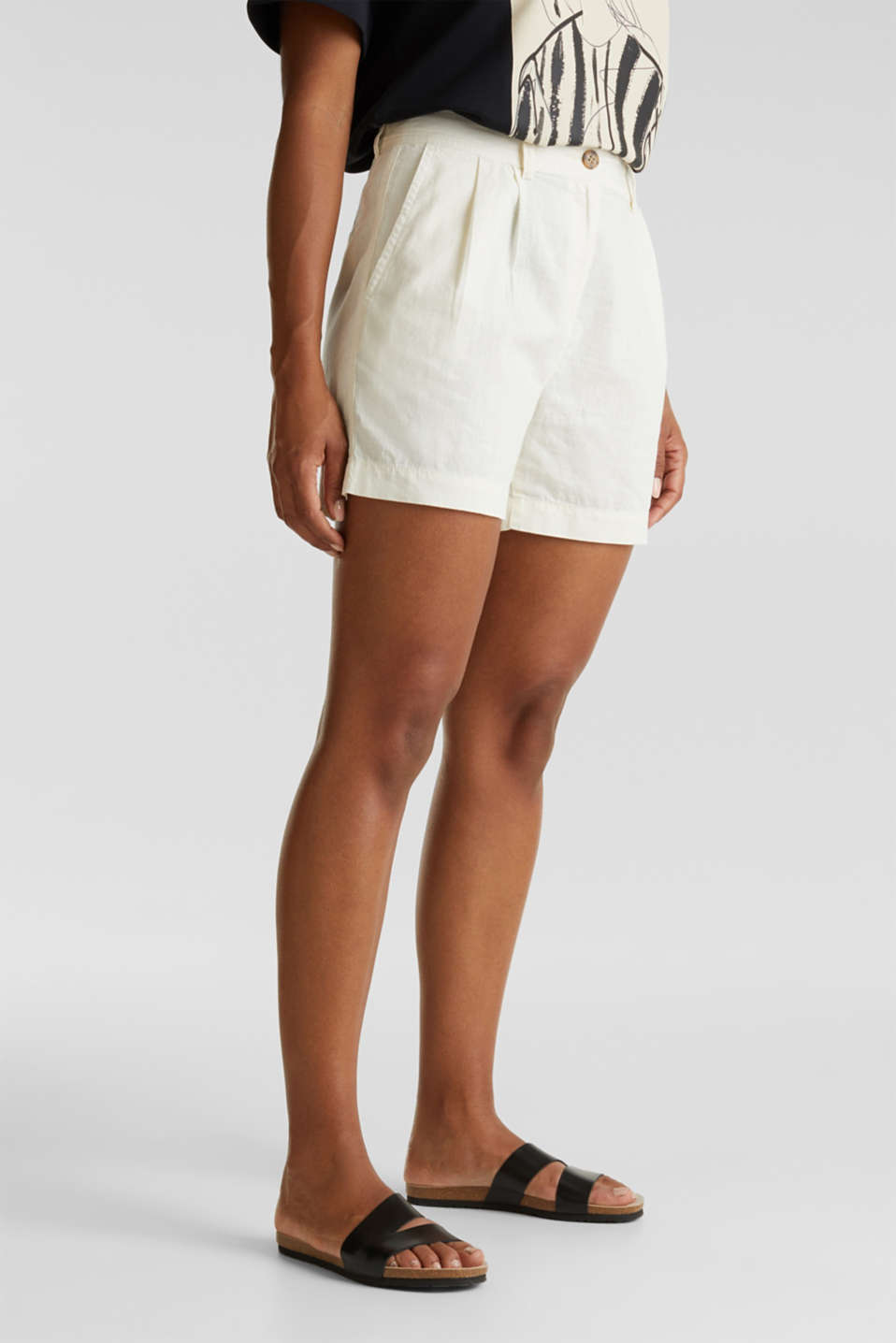 Shorts with organic cotton, OFF WHITE, detail image number 0