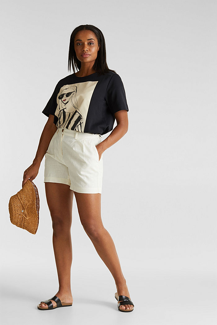 Shorts with organic cotton, OFF WHITE, detail image number 1