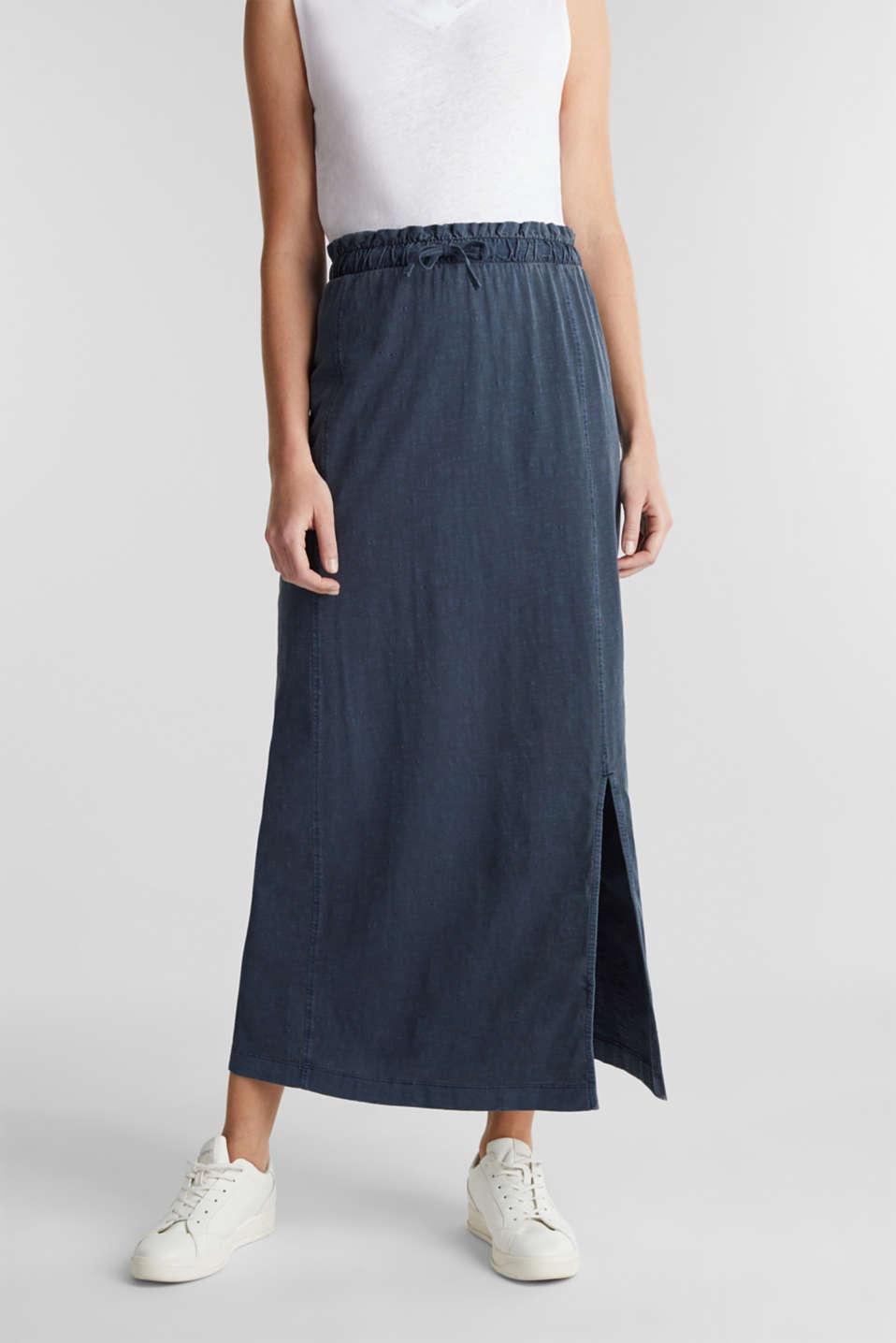 Jersey maxi skirt, 100% organic cotton, NAVY, detail image number 0