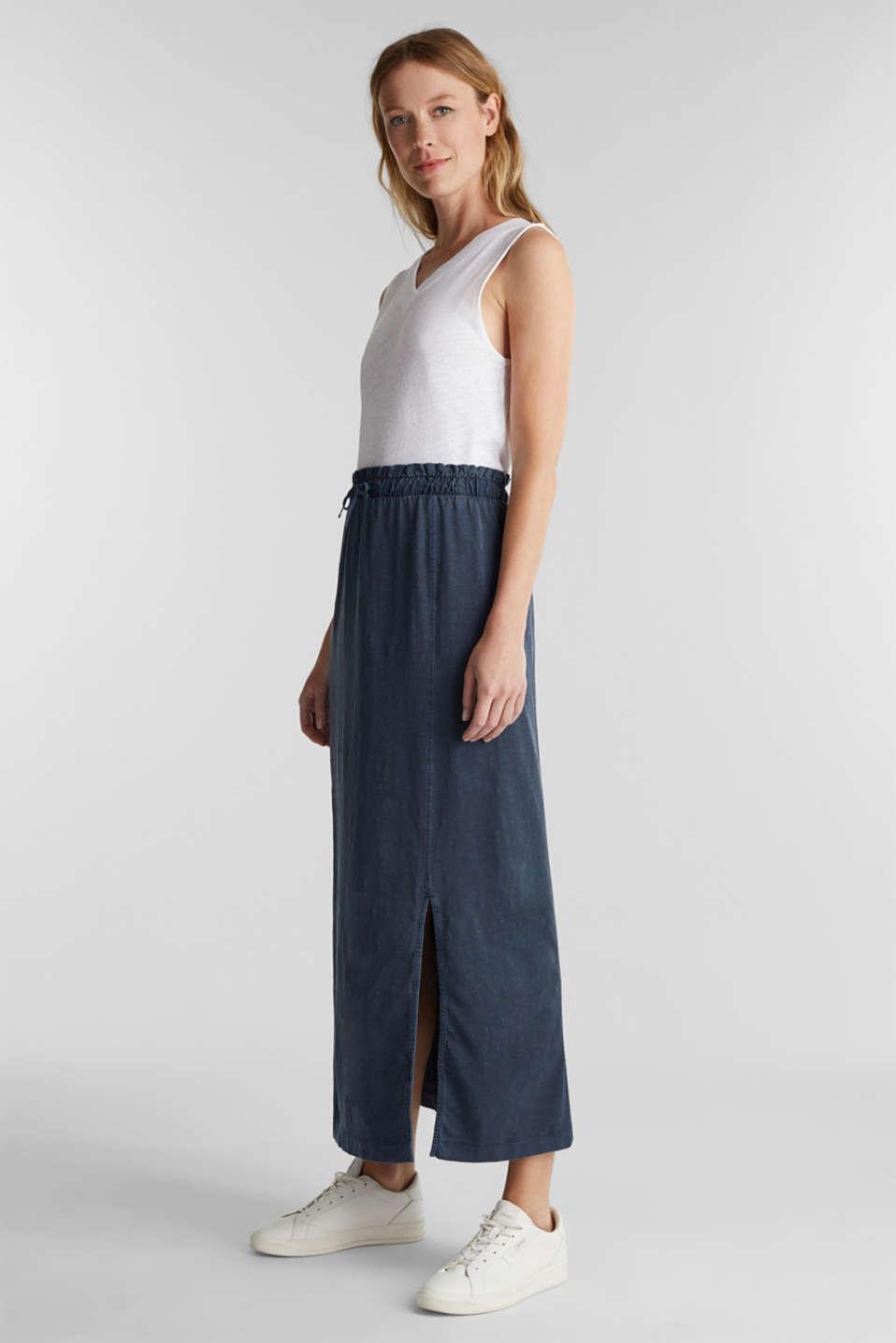 Jersey maxi skirt, 100% organic cotton, NAVY, detail image number 1
