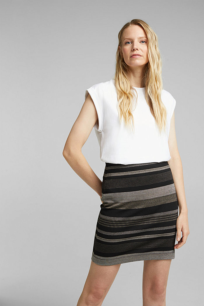 Jersey mini skirt with a striped pattern, BLACK, detail image number 0