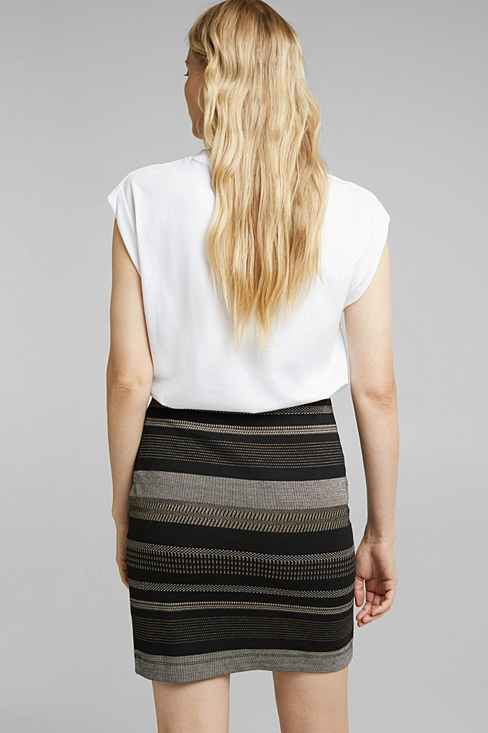 Jersey mini skirt with a striped pattern, BLACK, detail image number 3