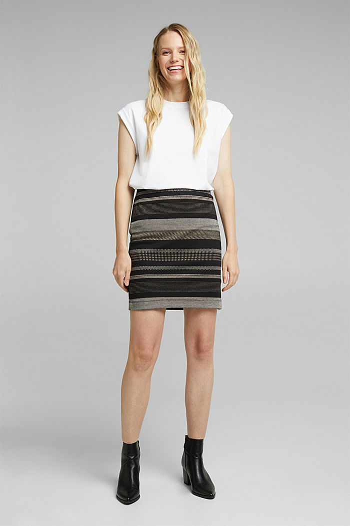 Jersey mini skirt with a striped pattern, BLACK, detail image number 1