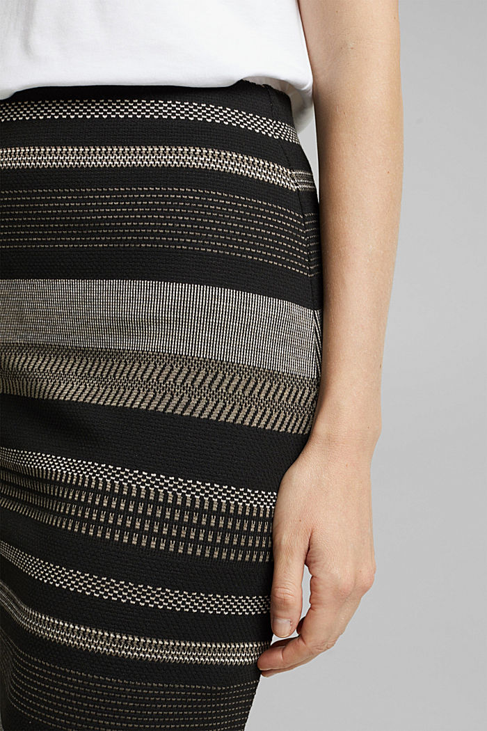 Jersey mini skirt with a striped pattern, BLACK, detail image number 2