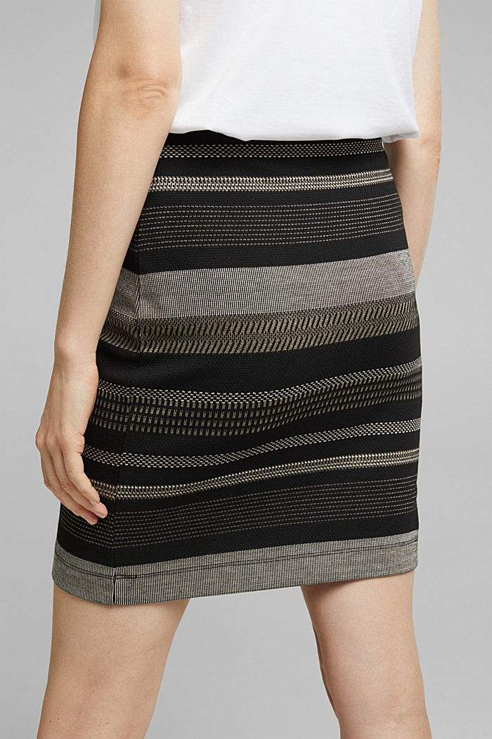 Jersey mini skirt with a striped pattern, BLACK, detail image number 5