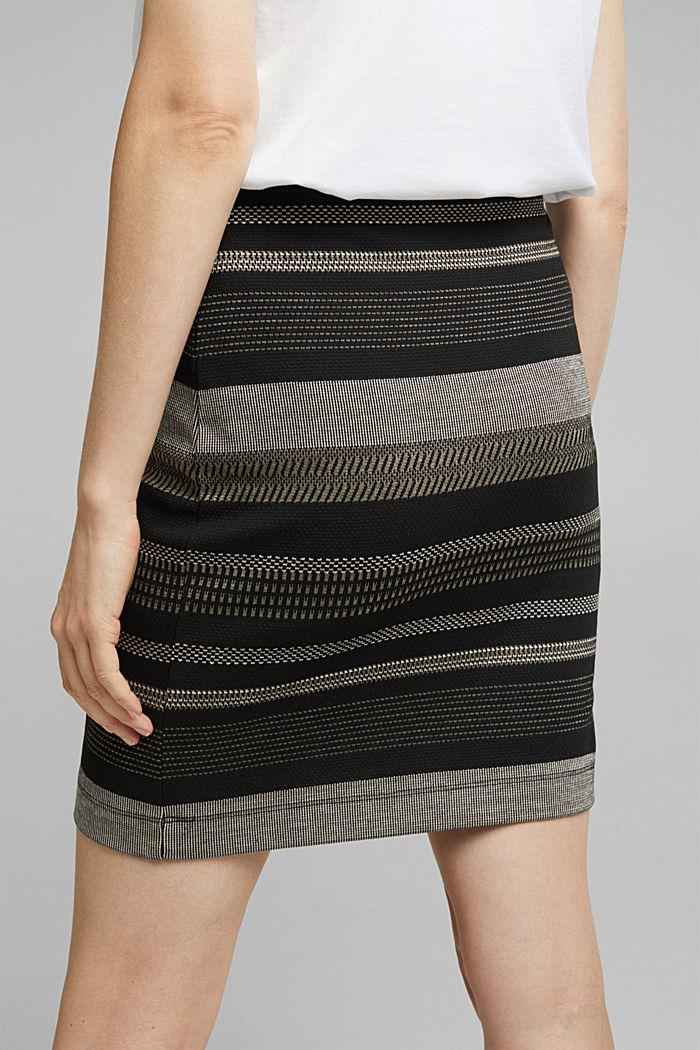 Jersey-Mini-Rock mit Streifen-Muster, BLACK, detail image number 5