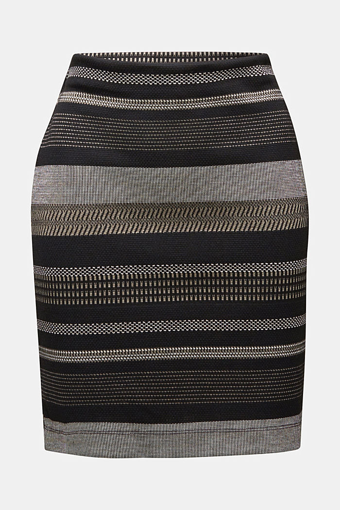 Jersey mini skirt with a striped pattern, BLACK, detail image number 6