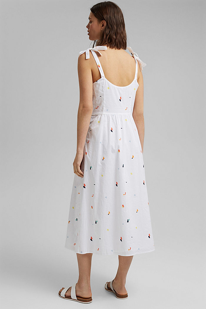 Dress with tie straps, 100% organic cotton, WHITE, detail image number 2