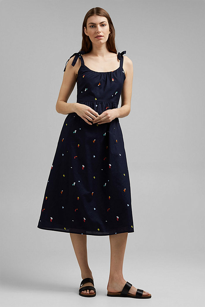 Dress with tie straps, 100% organic cotton, NAVY, detail image number 1