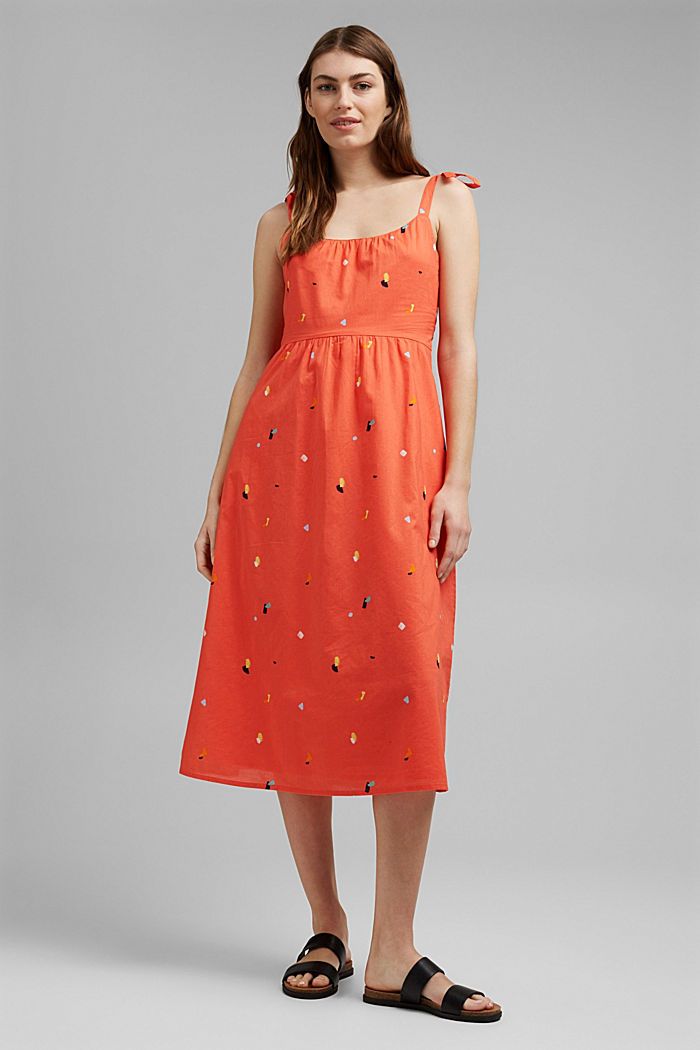 Dress with tie straps, 100% organic cotton, CORAL, detail image number 0