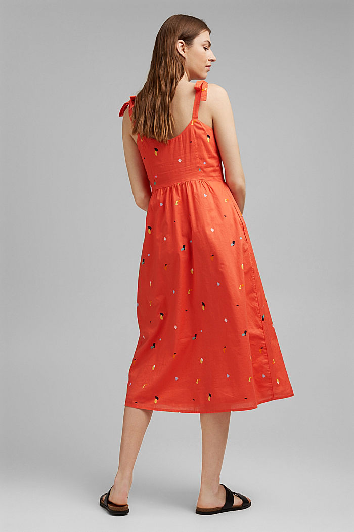 Dress with tie straps, 100% organic cotton, CORAL, detail image number 2