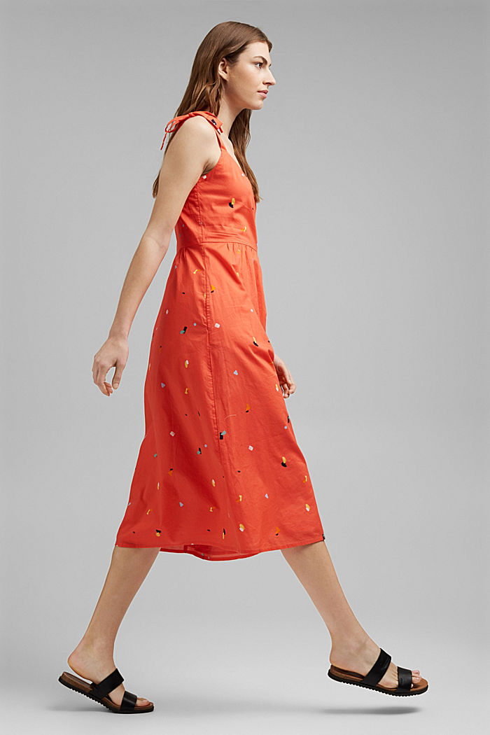 Dress with tie straps, 100% organic cotton, CORAL, detail image number 1
