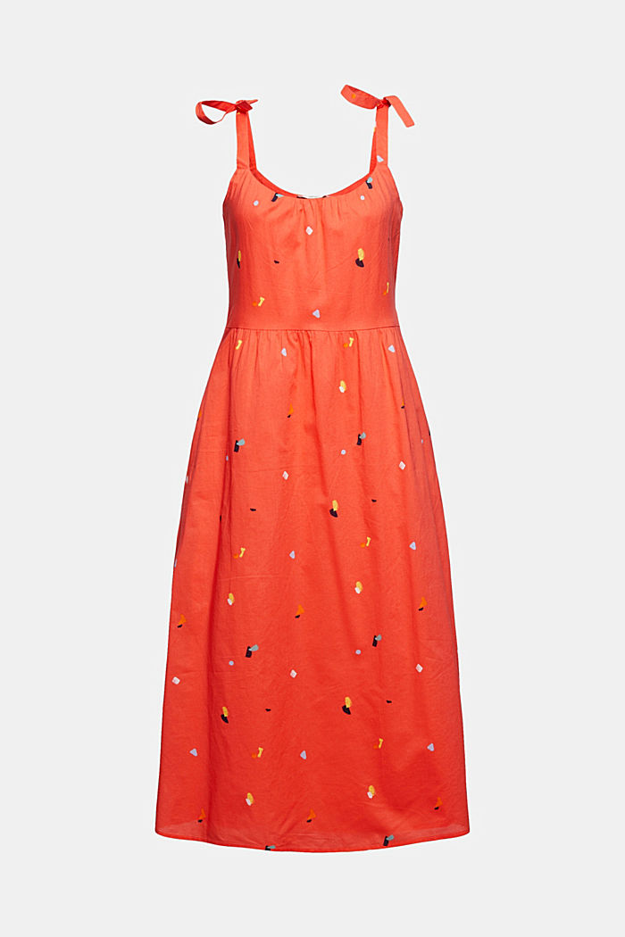 Dress with tie straps, 100% organic cotton, CORAL, detail image number 6