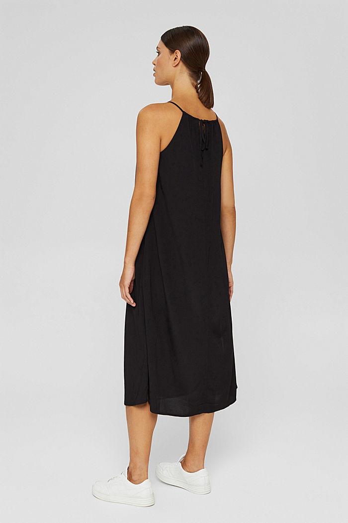 Uitlopende midi-jurk met ceintuur, BLACK, detail image number 2