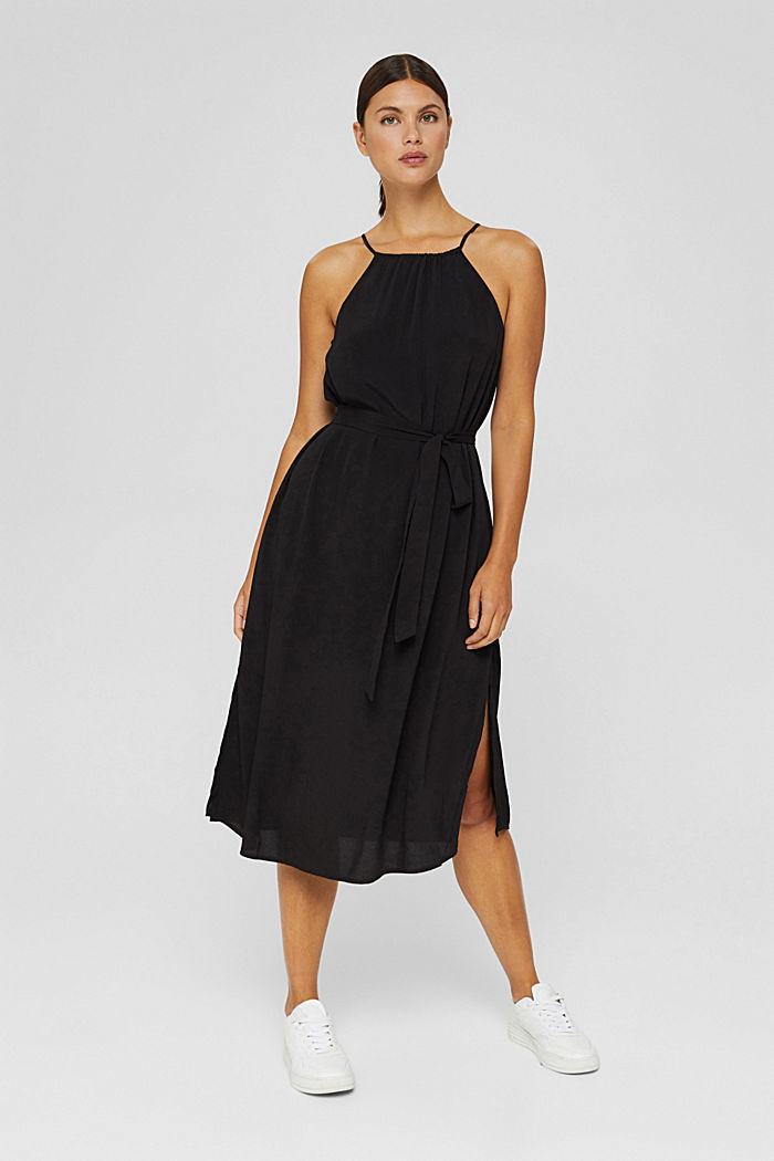 Uitlopende midi-jurk met ceintuur, BLACK, detail image number 1