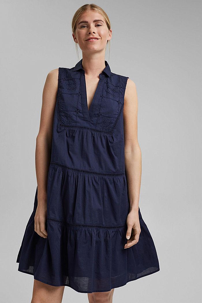 Luomupuuvillainen mekko, jossa kirjailua ja pitsiä, NAVY, detail image number 0