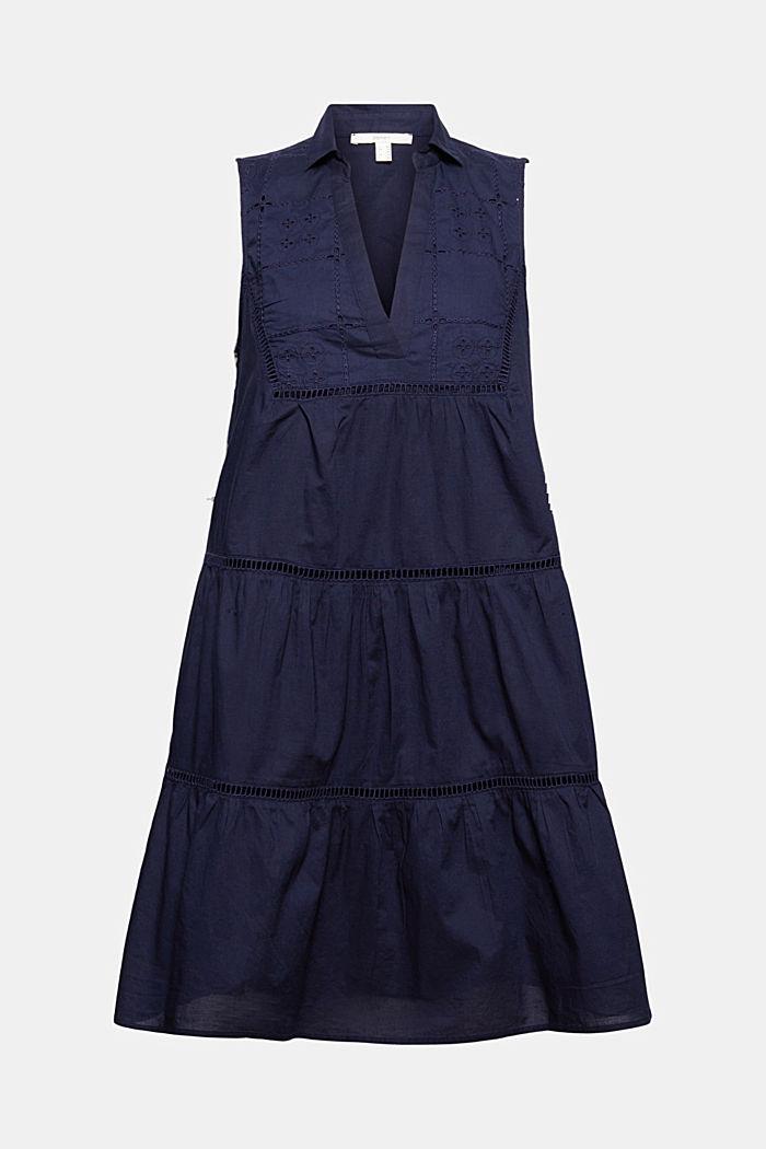 Vestido con bordado y encaje, algodón ecológico