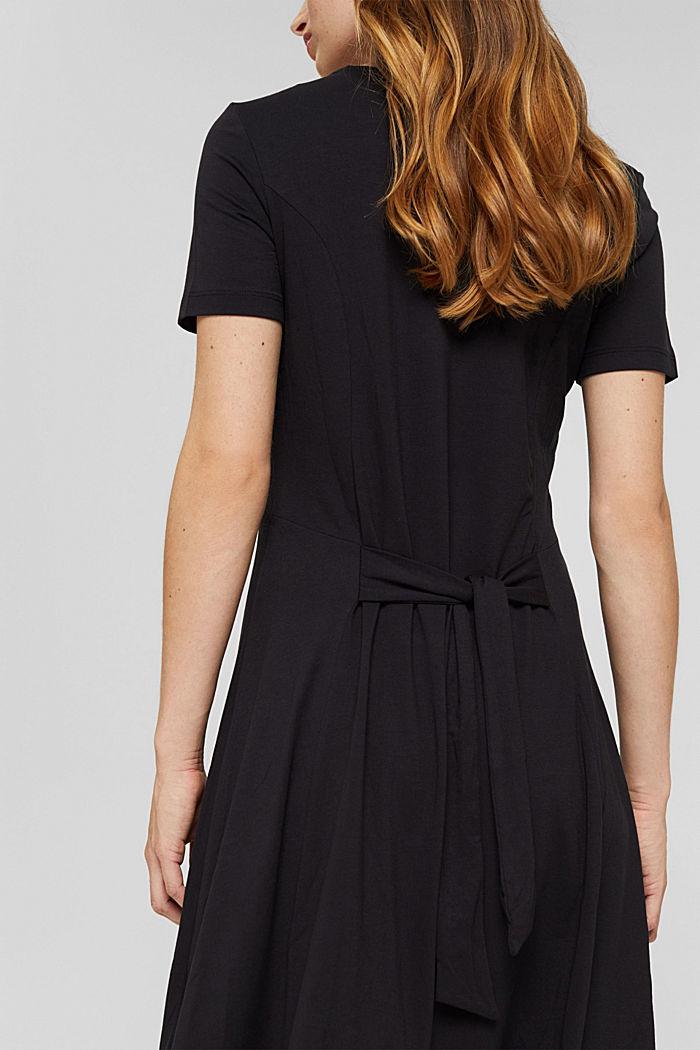 Flared jersey dress in blended viscose, BLACK, detail image number 3