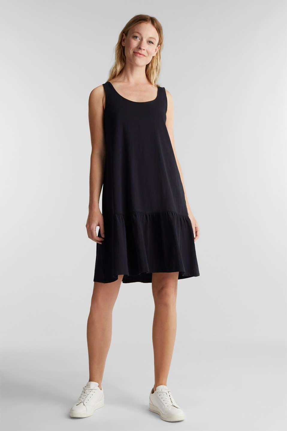 Jersey dress in 100% cotton, BLACK, detail image number 0