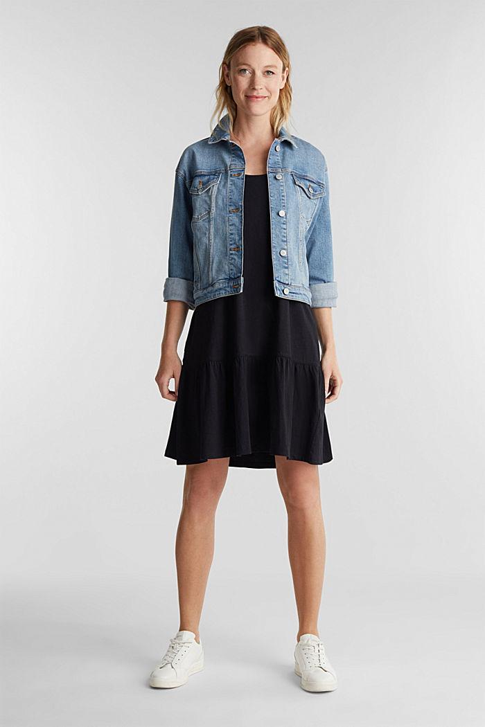 Jersey dress in 100% cotton, BLACK, detail image number 1
