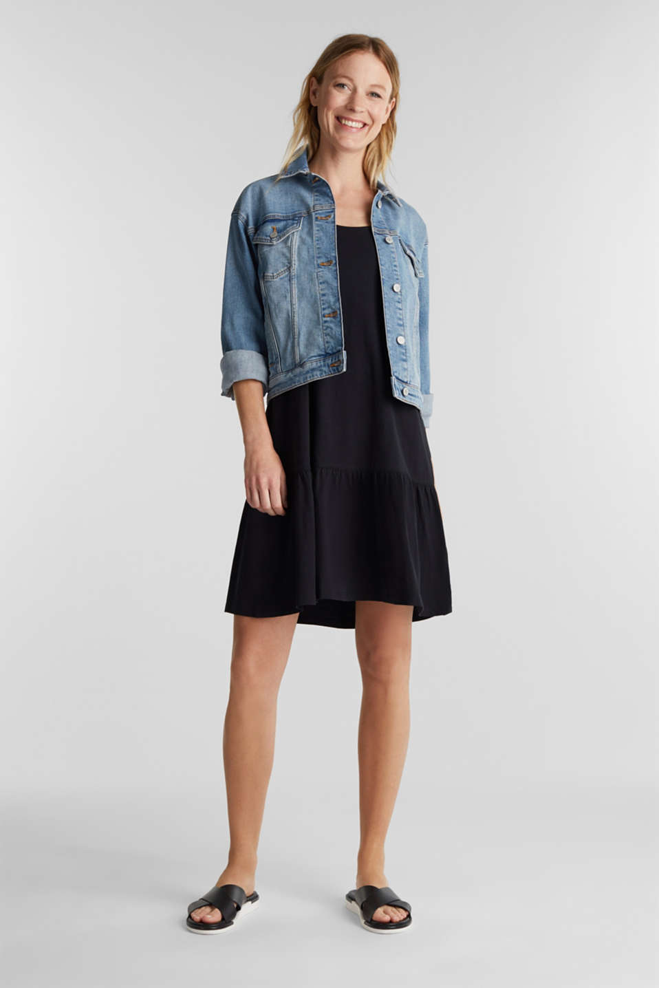 Jersey dress in 100% cotton, BLACK, detail image number 5