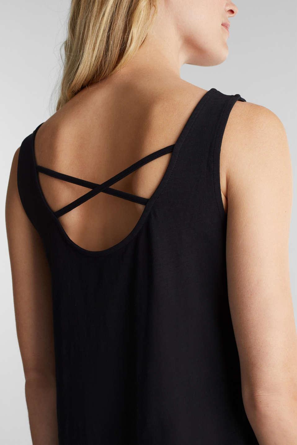 Jersey dress in 100% cotton, BLACK, detail image number 3