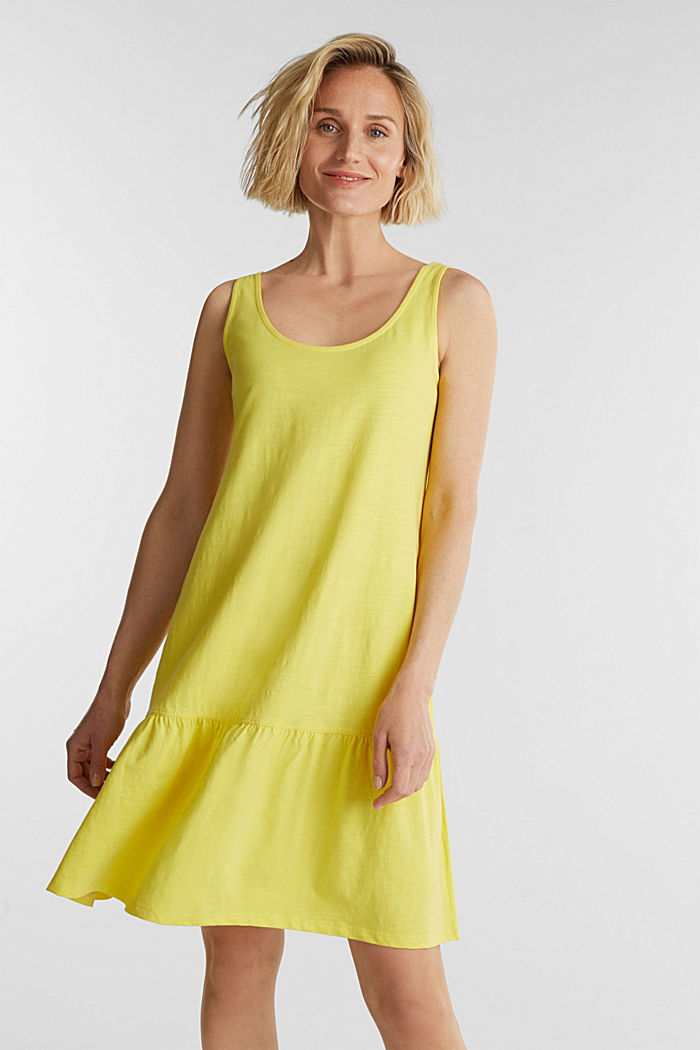 Jersey dress in 100% cotton, BRIGHT YELLOW, detail image number 0