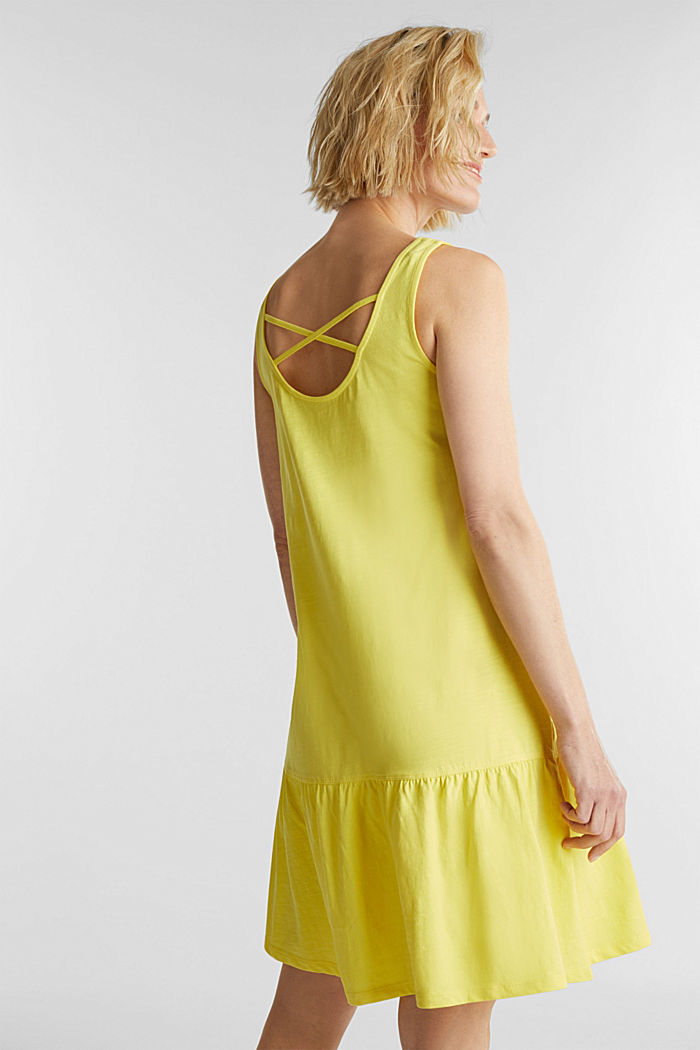 Jersey dress in 100% cotton, BRIGHT YELLOW, detail image number 2