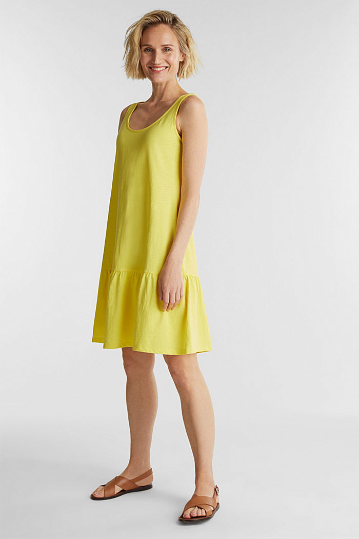Jersey dress in 100% cotton, BRIGHT YELLOW, detail image number 1