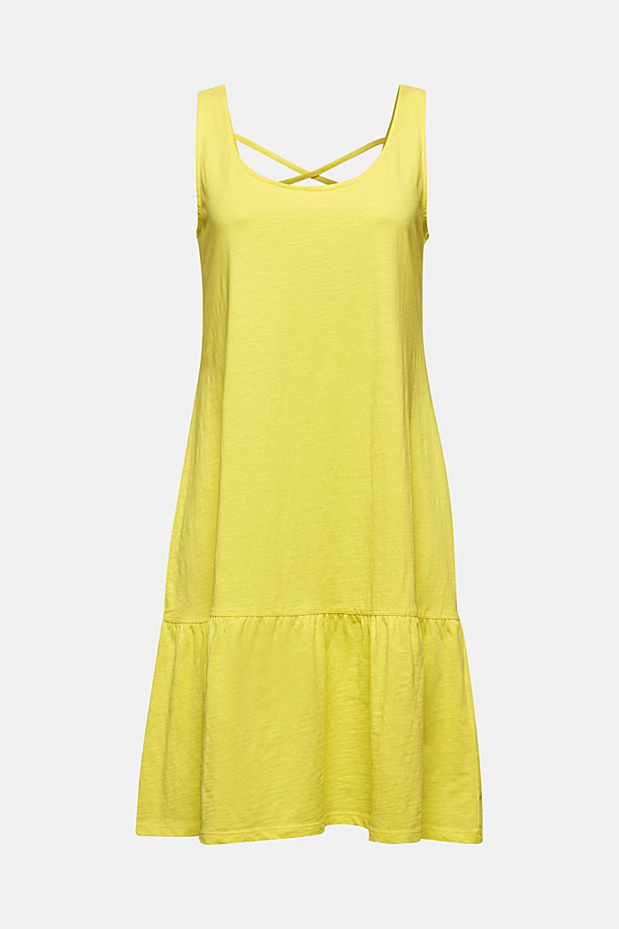 Jersey dress in 100% cotton, BRIGHT YELLOW, detail image number 5
