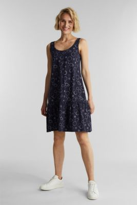 Jersey dress made of 100% organic cotton, NAVY, detail