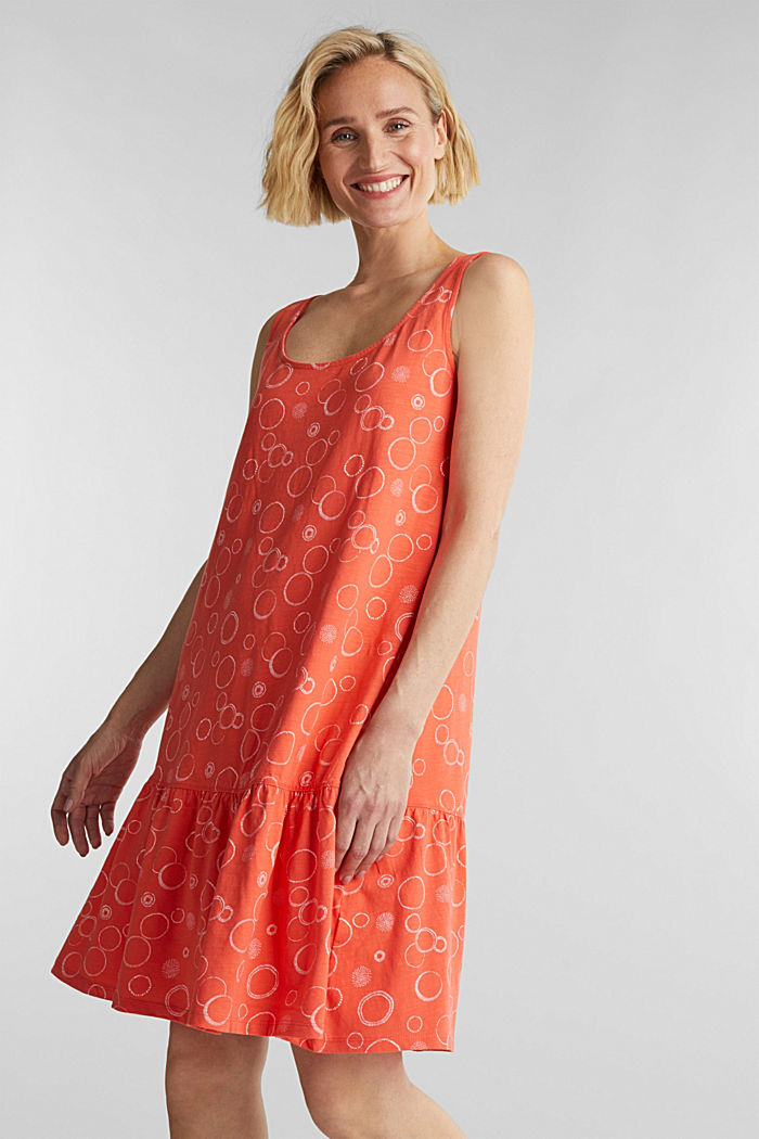 Jersey dress made of 100% organic cotton, CORAL, detail image number 0