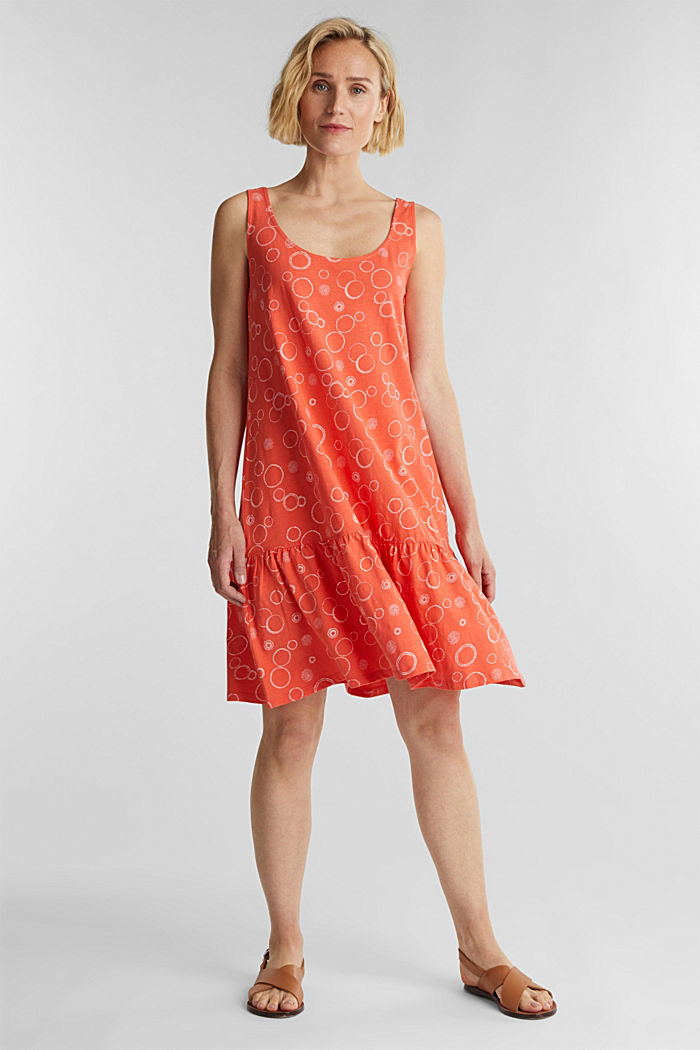 Jersey dress made of 100% organic cotton, CORAL, detail image number 1