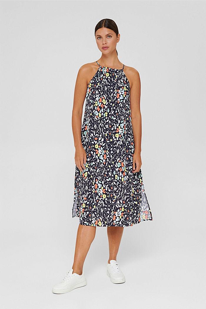 Ausgestelltes Kleid mit Print und Gürtel, NAVY, detail image number 1