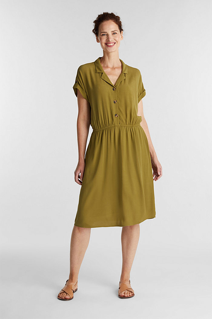 Dress made of LENZING™ ECOVERO™, OLIVE, detail image number 1