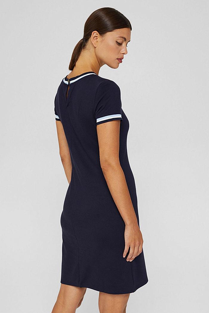 Tailliertes Jerseykleid mit gestreiften Bündchen, NAVY, detail image number 2