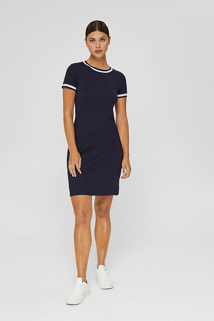 Tailliertes Jerseykleid mit gestreiften Bündchen, NAVY, detail image number 1