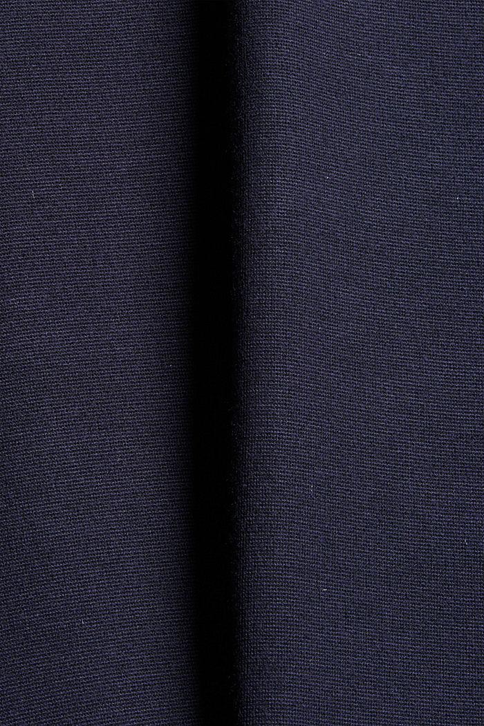 Tailliertes Jerseykleid mit gestreiften Bündchen, NAVY, detail image number 4