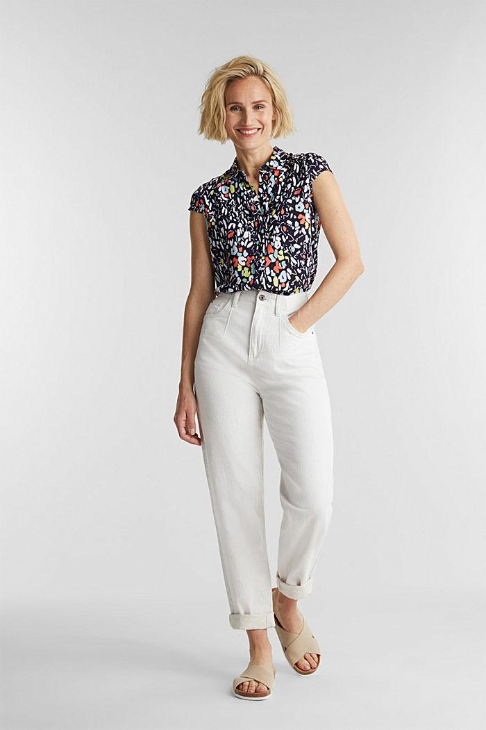 Top façon blouse à teneur en LENZING™ ECOVERO™, NAVY, detail image number 1